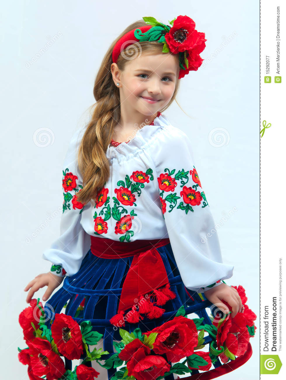 Young Pretty Girl In A Ukrainian National Costume Stock