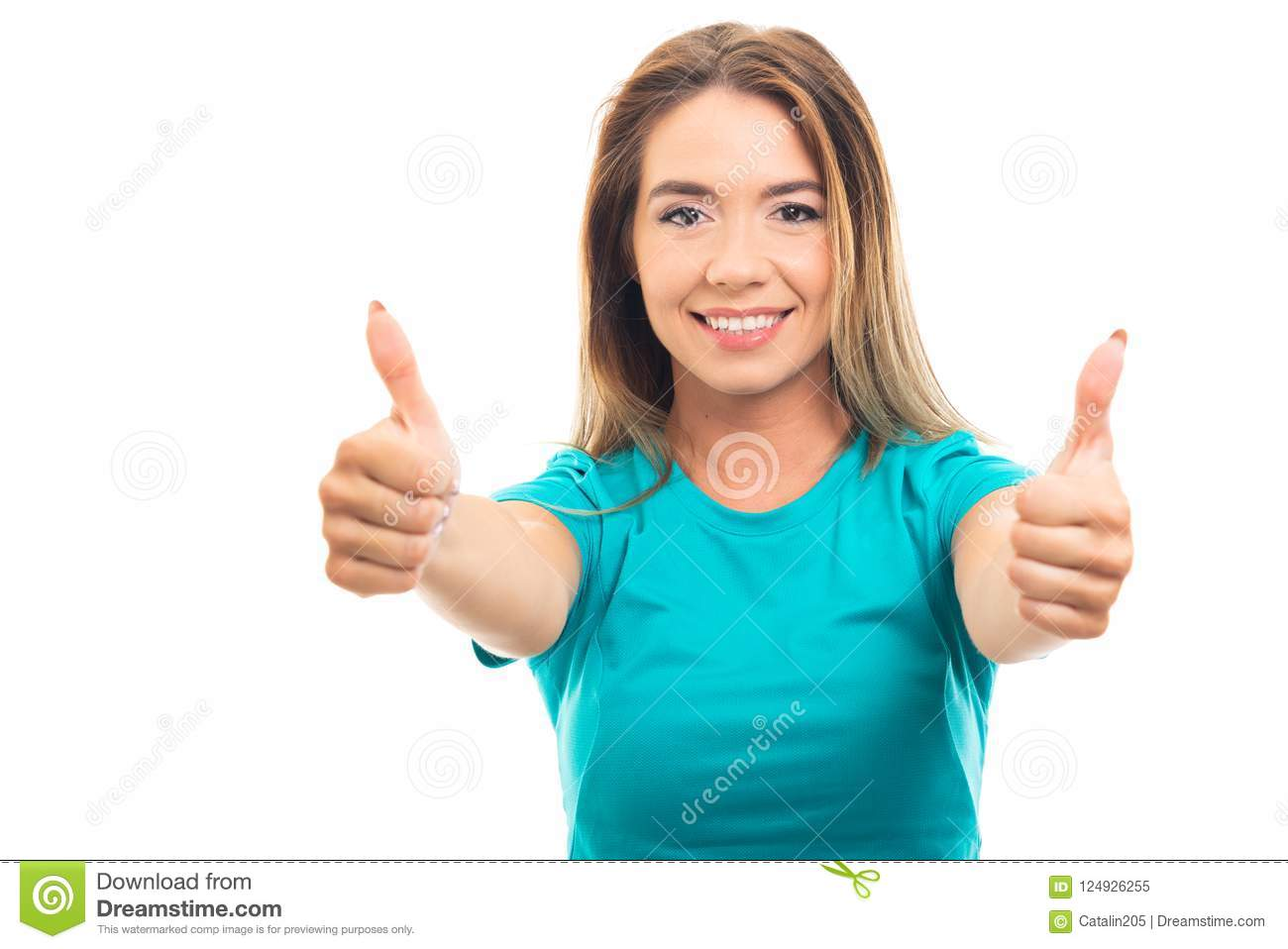 Young pretty girl wearing t-shirt showing both thumb up gesture