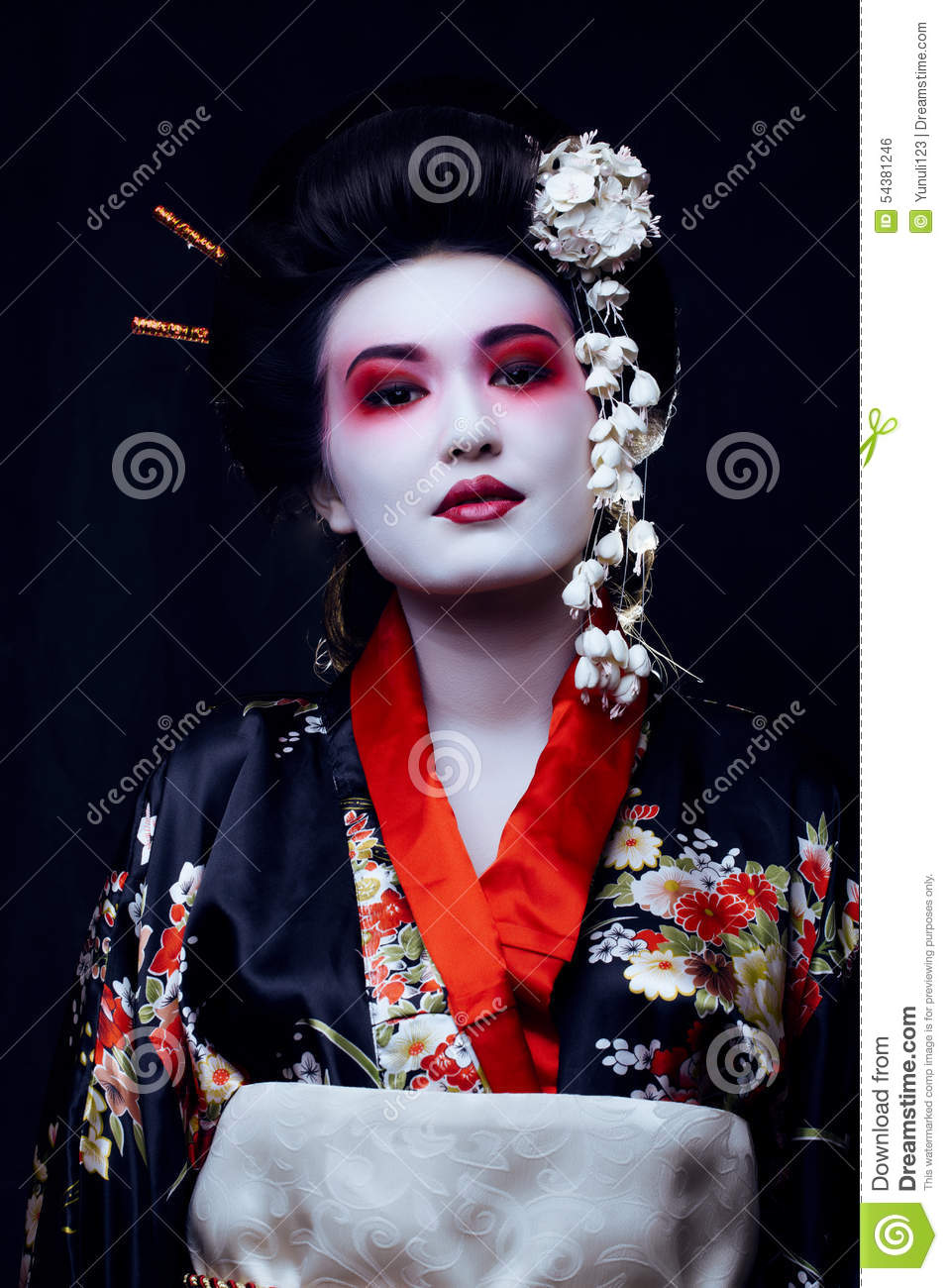 Young Pretty Real Geisha In Kimono With Sakura And Stock