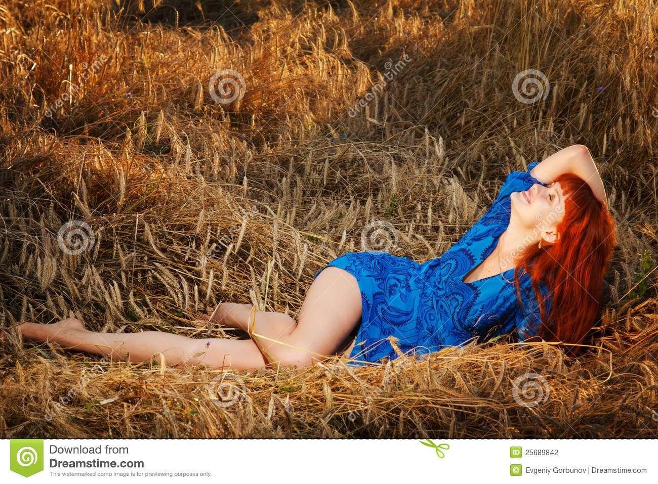 Young Pretty Red Woman At The Field Stock Photo - Image of ...