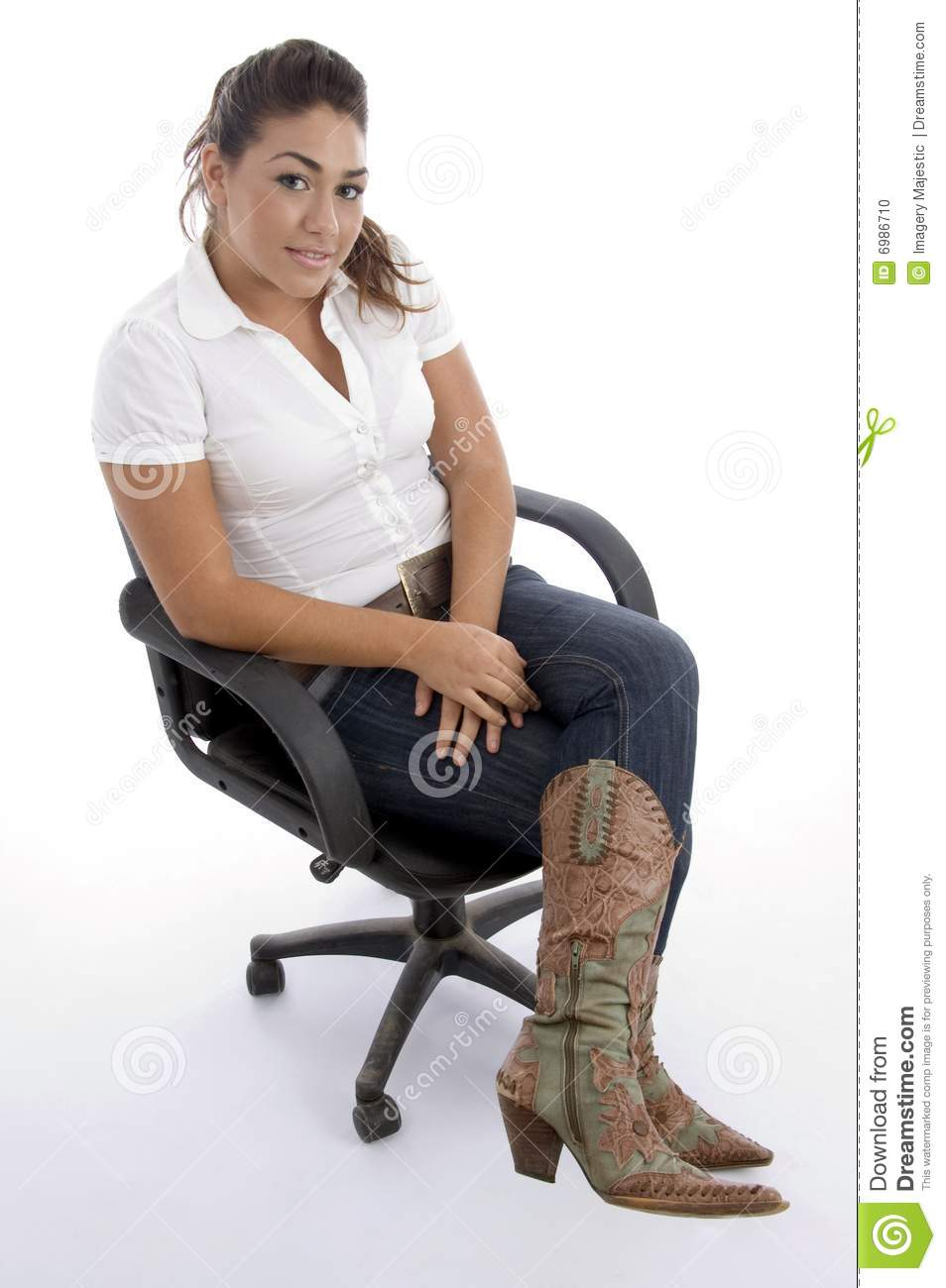Young Pretty Sitting On The Chair Stock Photo - Image: 6986710