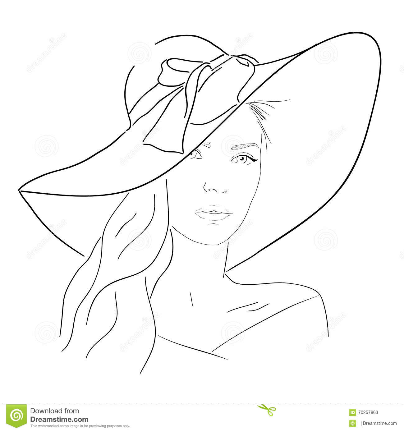 Line Art Body : Young pretty woman in hat line portrait romantic outline