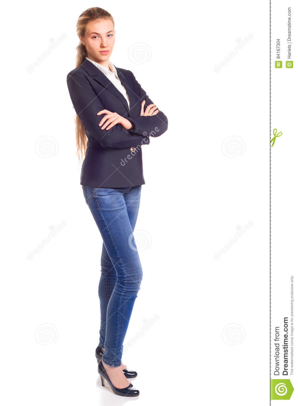 Young pretty woman isolated. Full height portrait