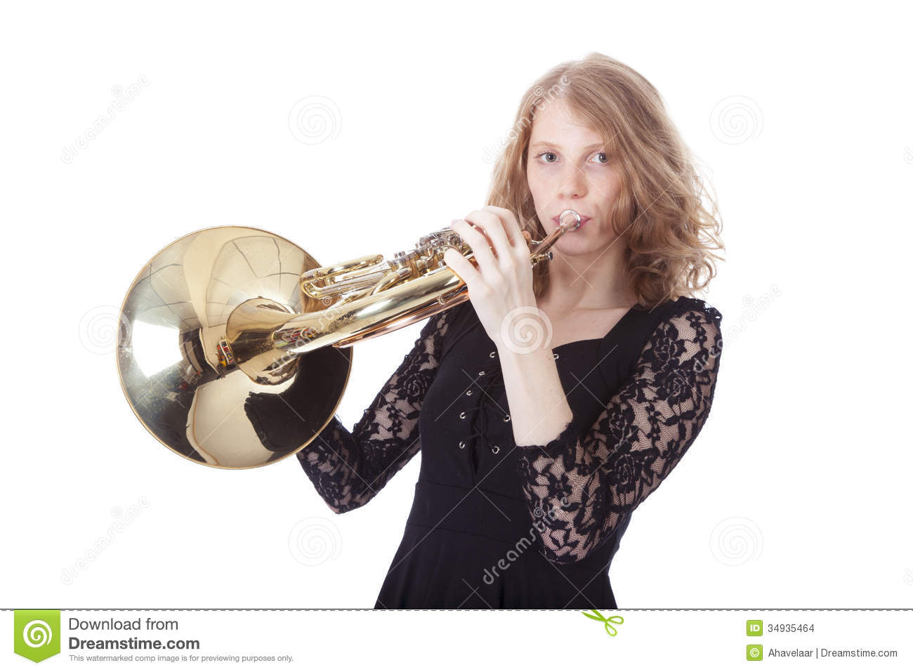 Young Pretty Woman Playing French Horn Stock Images - Image: 34935464