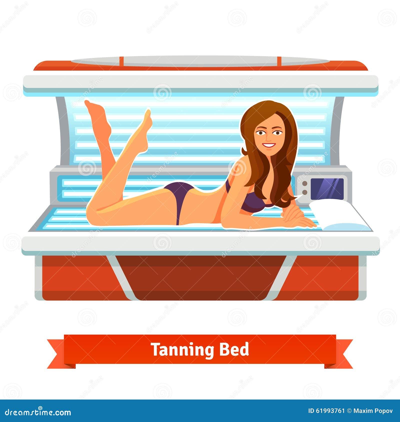 Young woman tanning in solarium. Vector flat cartoon
