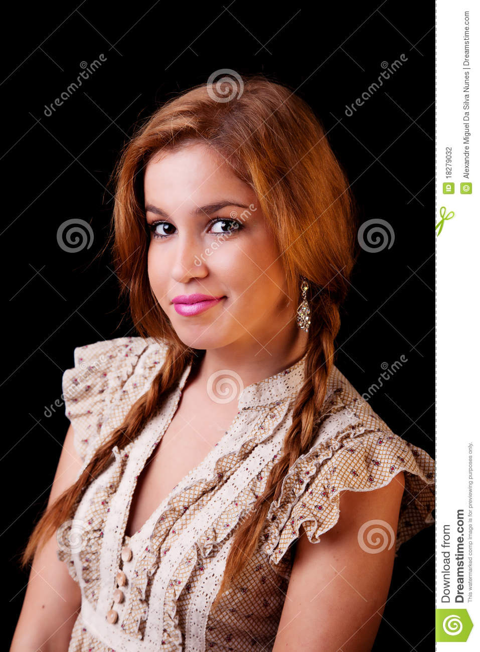 young pretty women with braids, smiling, stock photo - image of