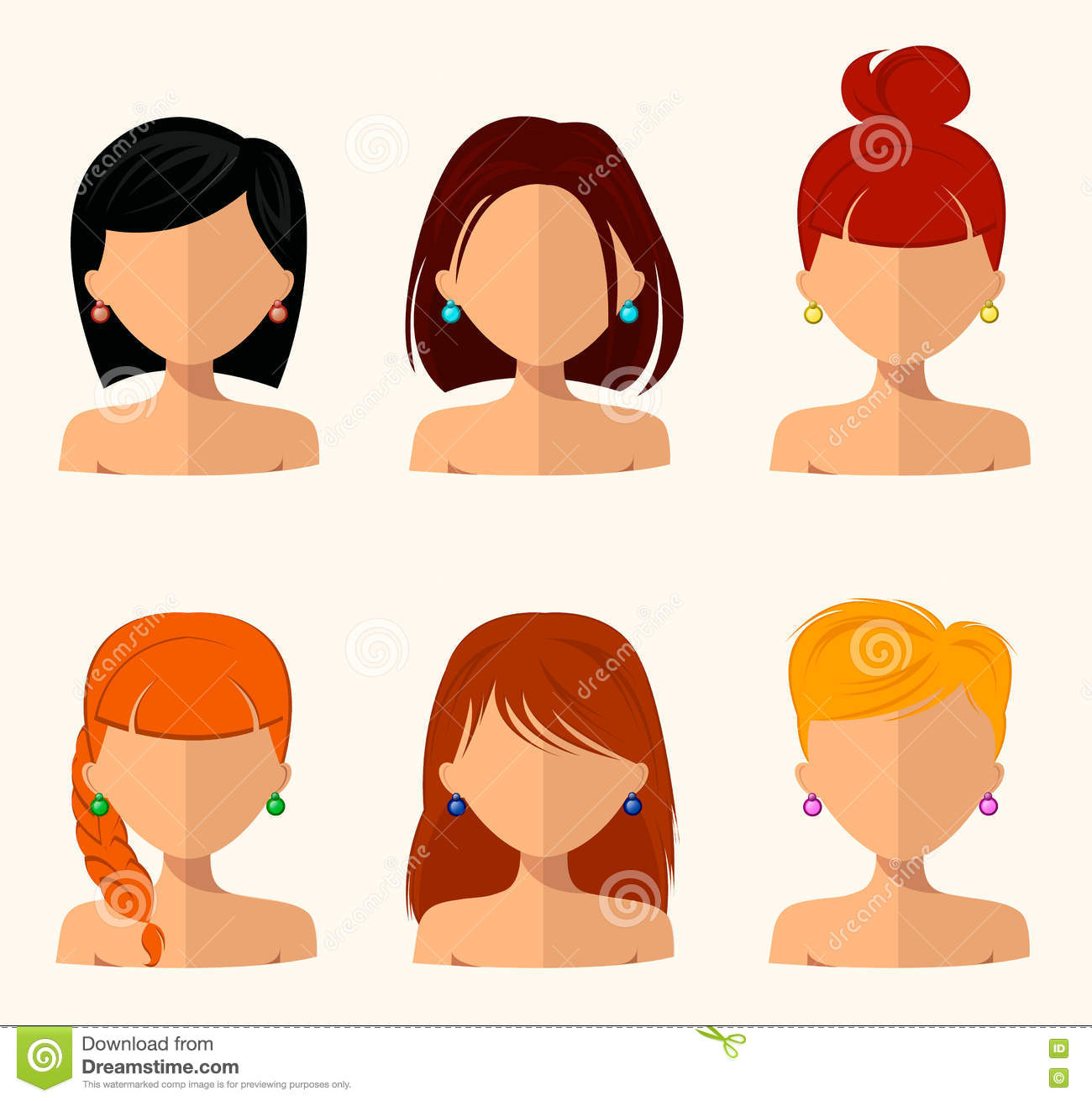 Woman Beautiful Face With Different Hairstyles Cartoon