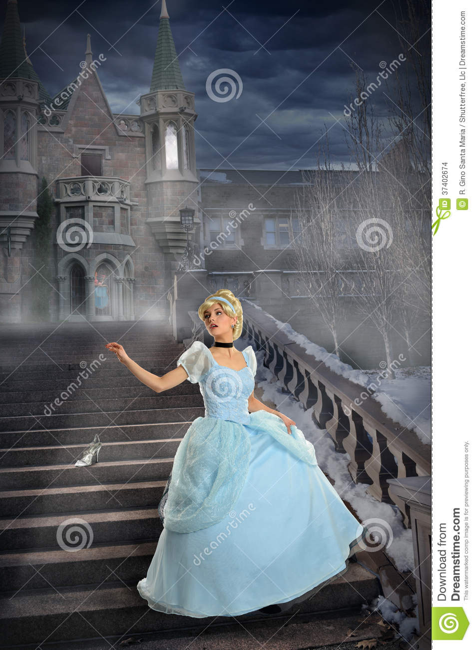 Young Princess Losing Shoe on Stairs