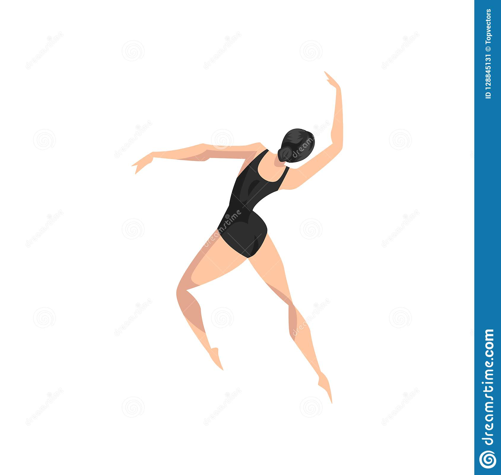 Young professional ballerina dancing, classical ballet dancer in black leotard vector Illustration on a white background