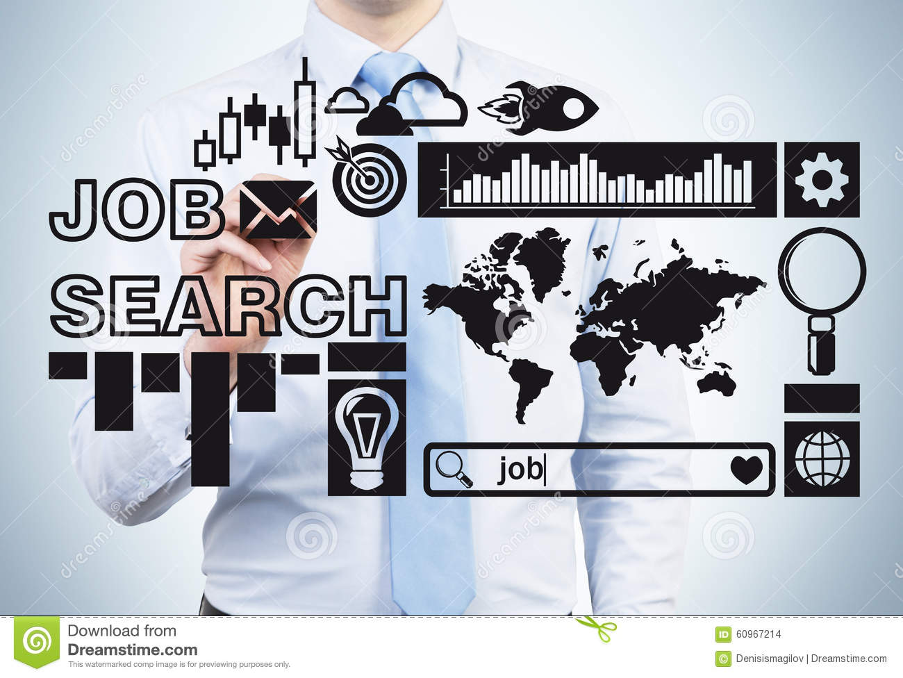 professional job icons stock photos image  young professional is looking for a job a person is drawing some recruitment icons on