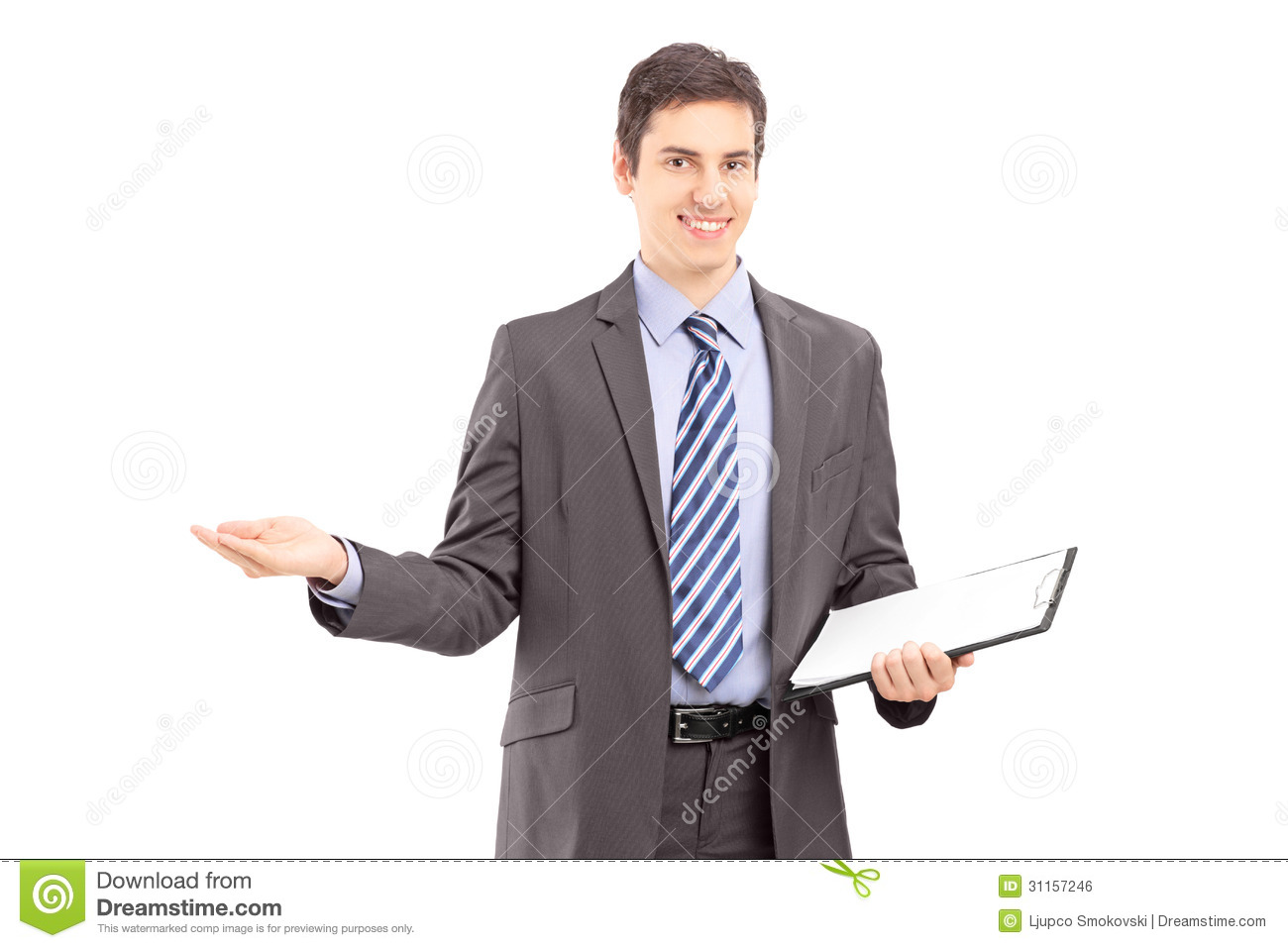 Young professional man holding a clipboard and gesturing with hand ...