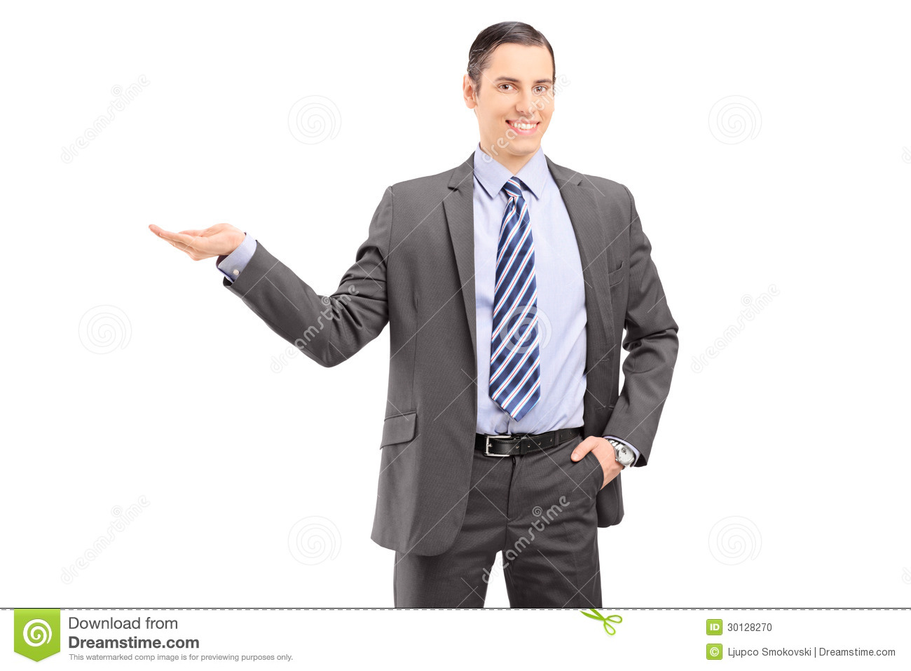 Young professional man in a suit gesturing with his hand against white ...