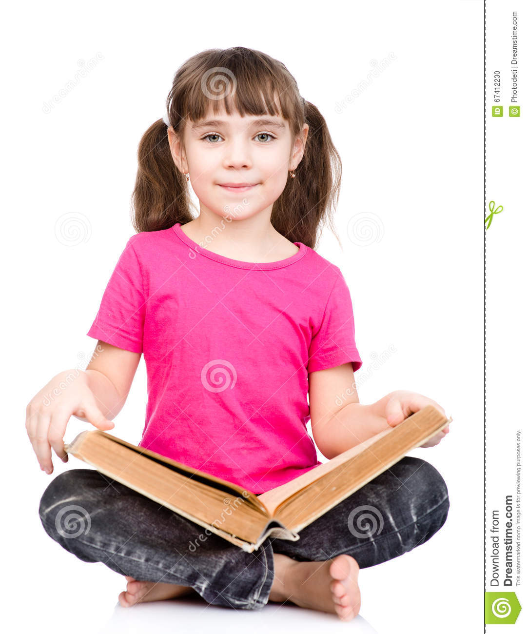 Young Pupil Holding Big Book. Isolated On White Background ...