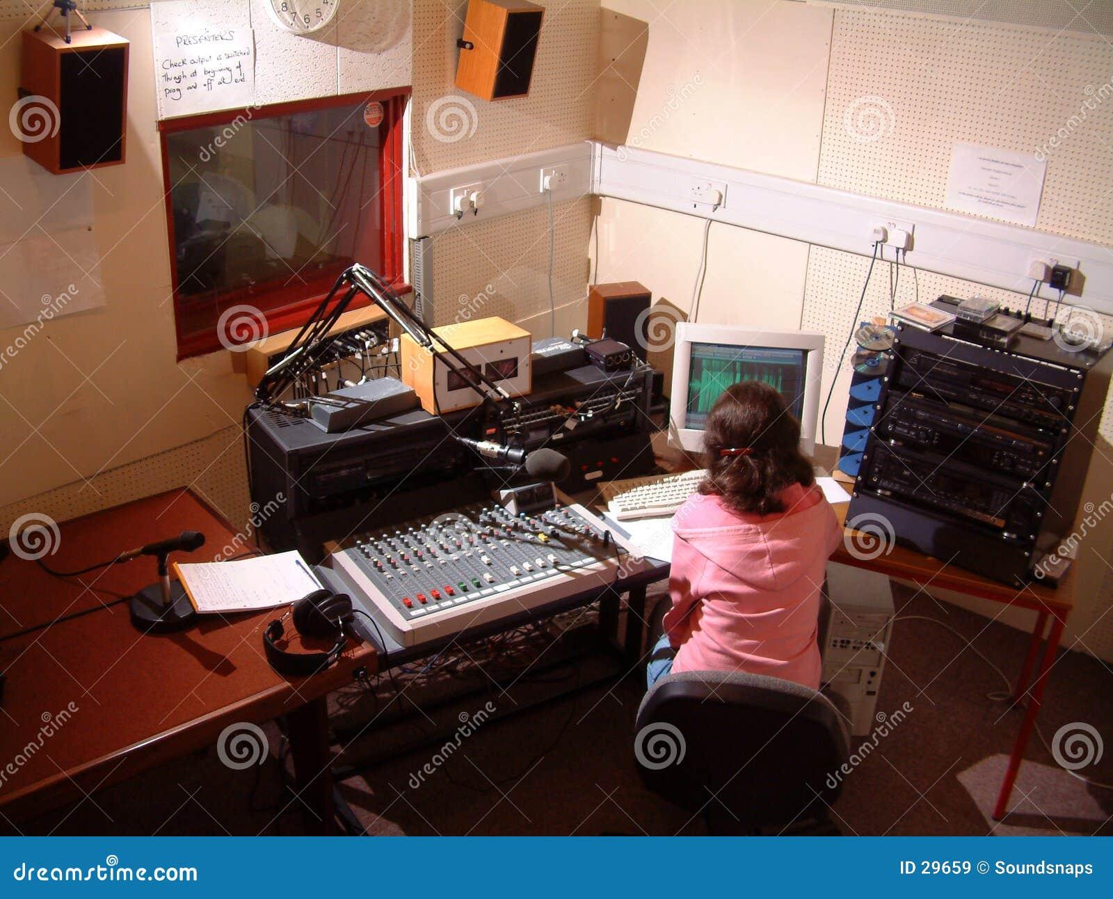 Young radio studio operator