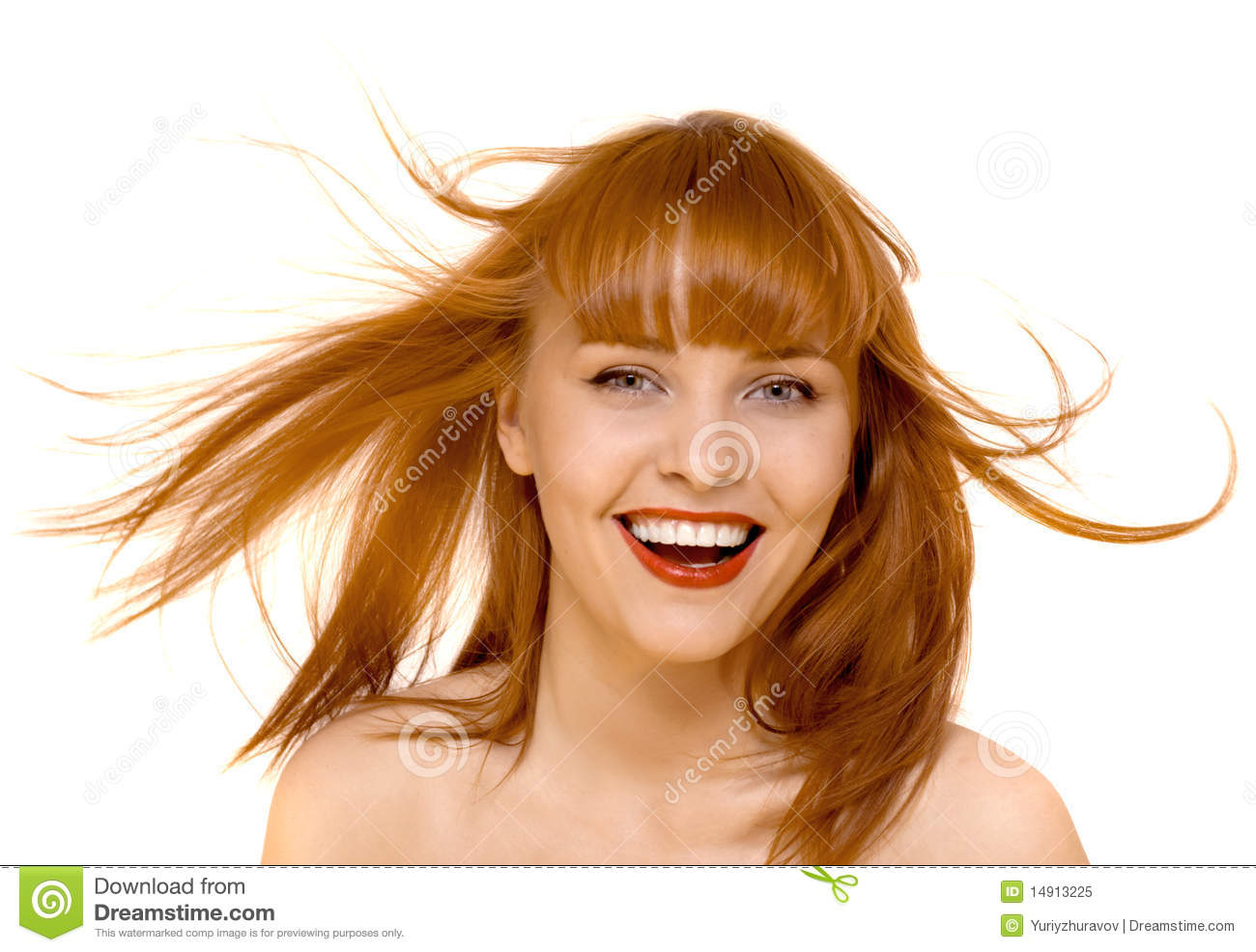 Young red hair happy woman smile isolated