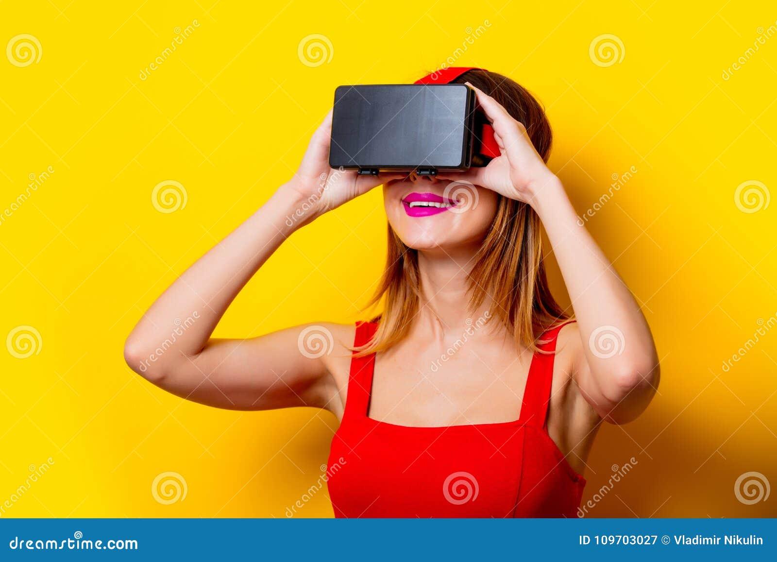 Young Girl Use Cool Virtual Reality Glasses Stock Image