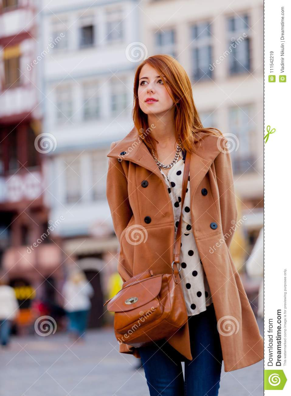 ec3aa82ab34 Woman In Coat Have A Rest On Frankfurt Streets Stock Image - Image ...