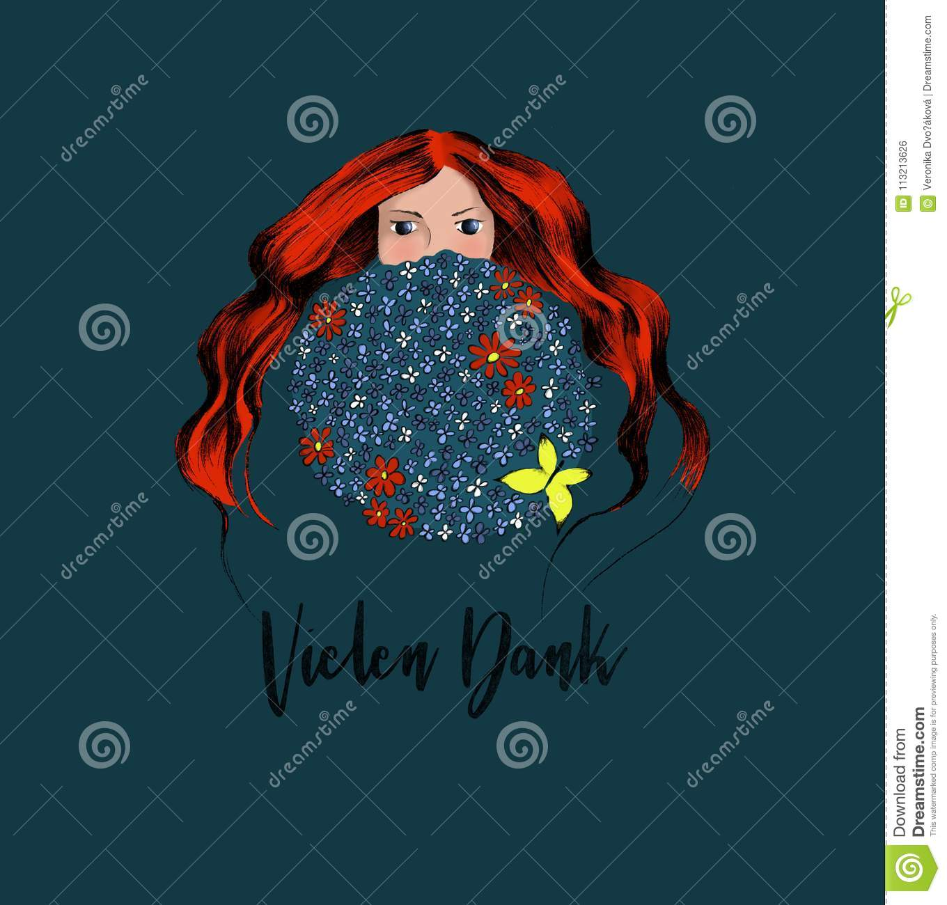 The Young Redhead Women Hiding Herself Behind Big Round Bouquet