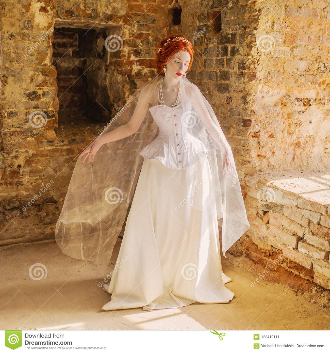 787a30145f0 Young renaissance redhead princess with hairstyle in old castle from  fairytale. Doll in corset. Renaissance princess in palace.