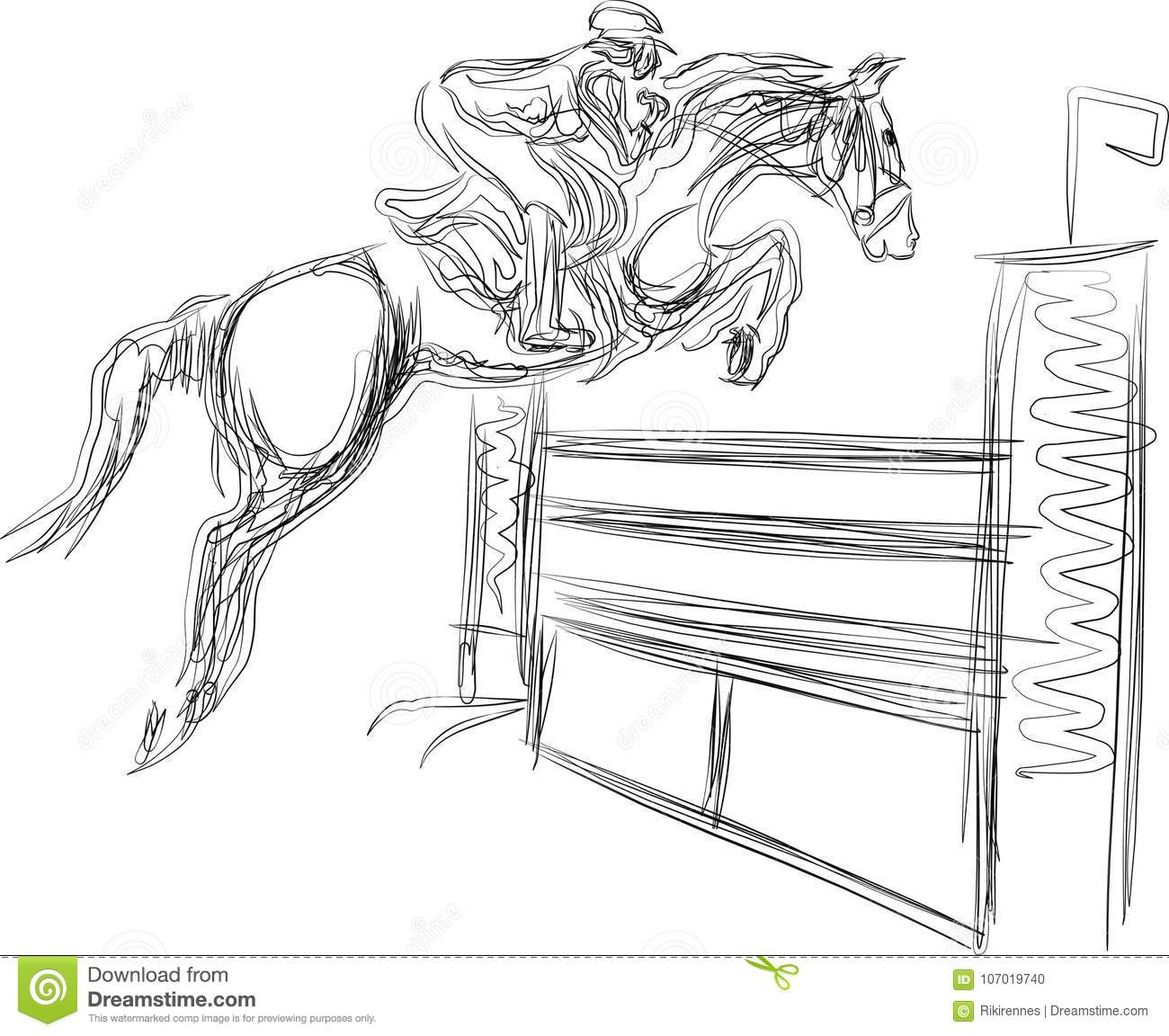 Young Rider Performing Jump On Bay Horse Over A Hurdle On Show Jumping Stock Illustration Illustration Of Event Fence 107019740