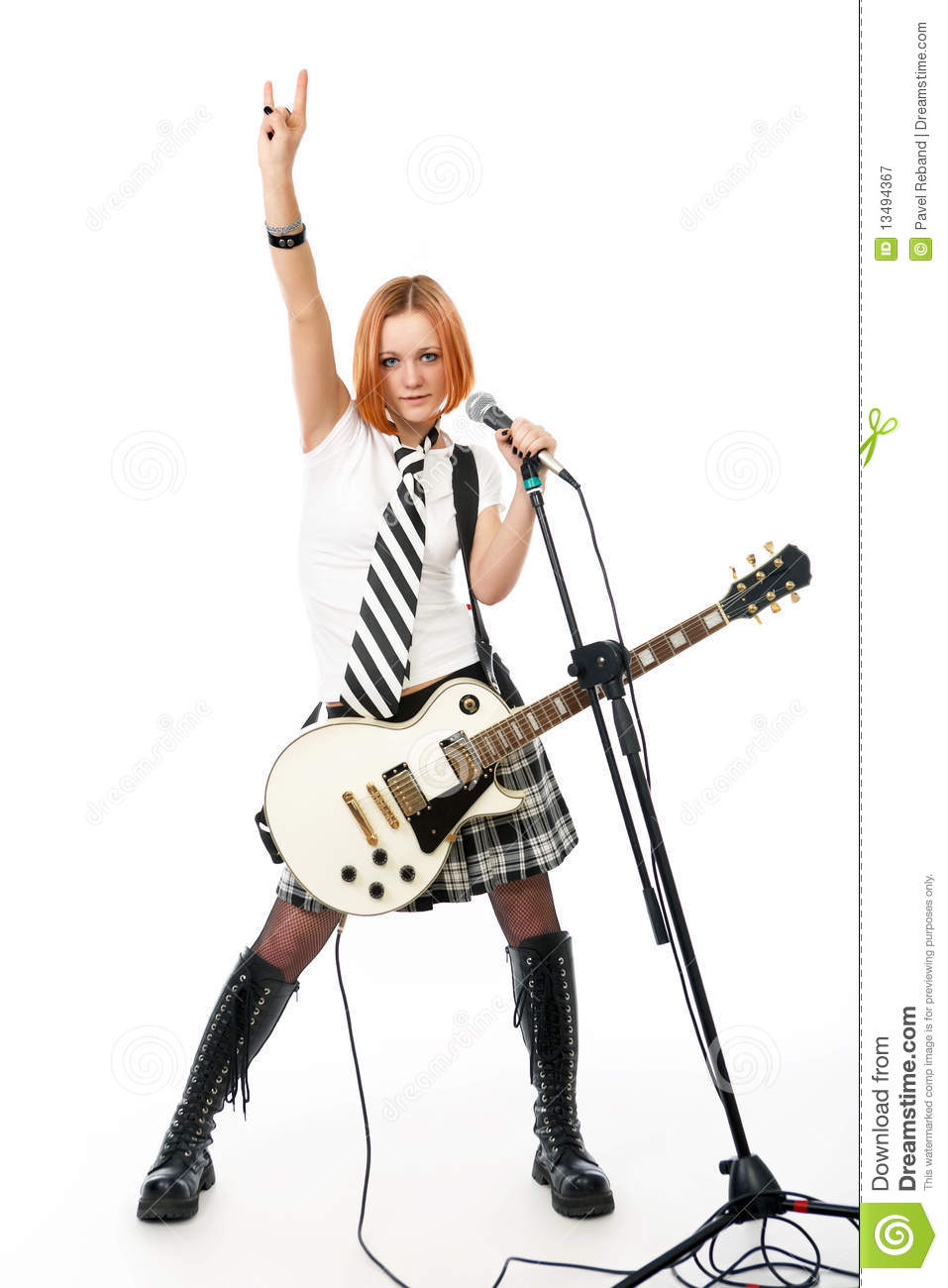 Young rock star with a guitar