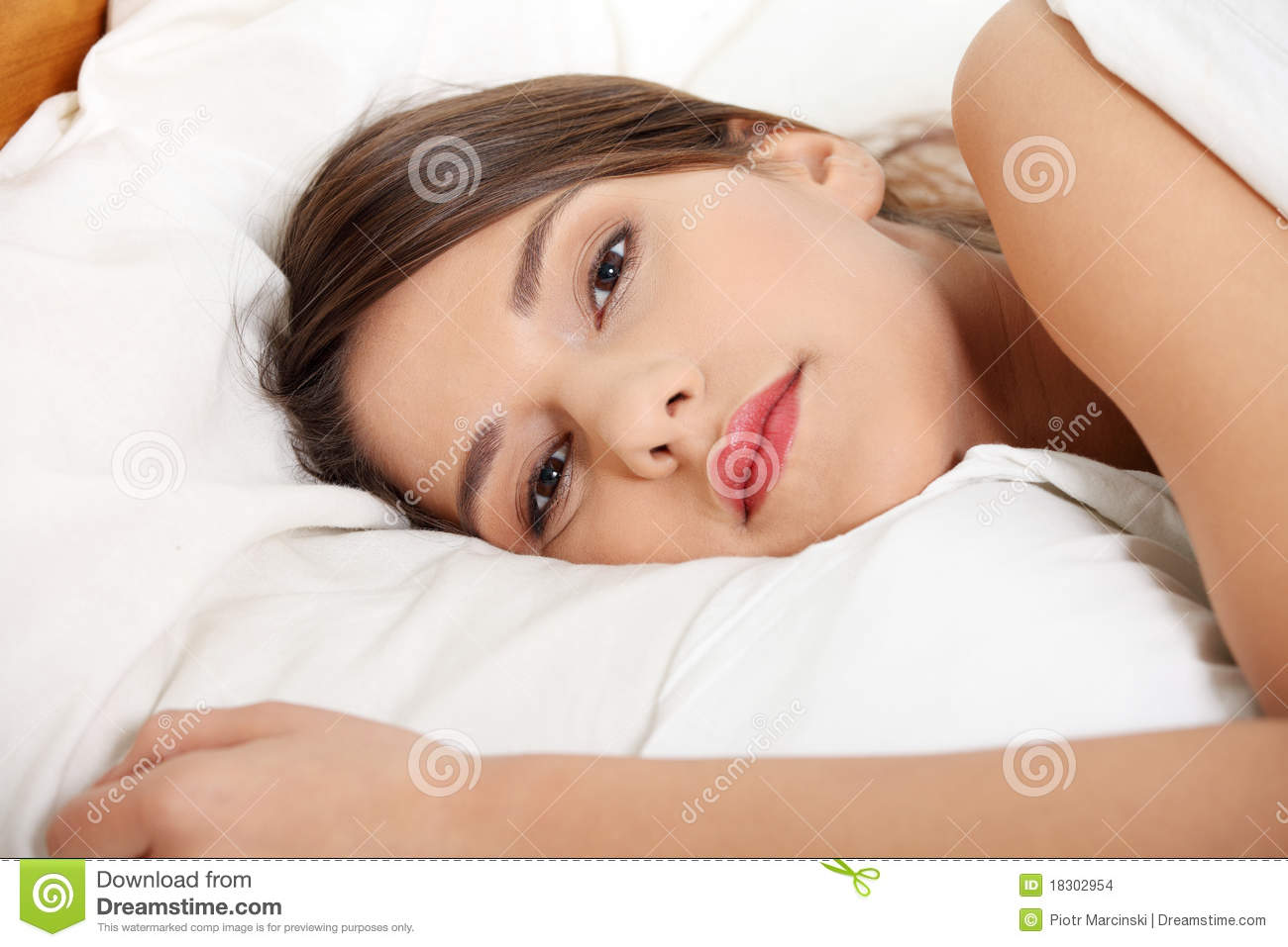 Young Sad Girl Lying In Bed Stock Photo Image Of