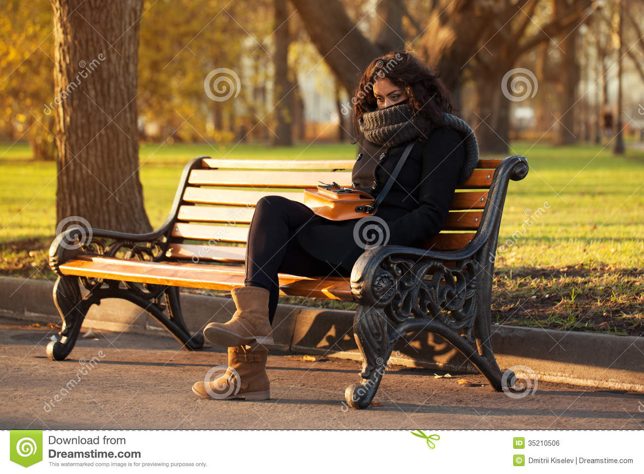 Girl Sitting Alone On Bench Young Sad Woman Sittin...