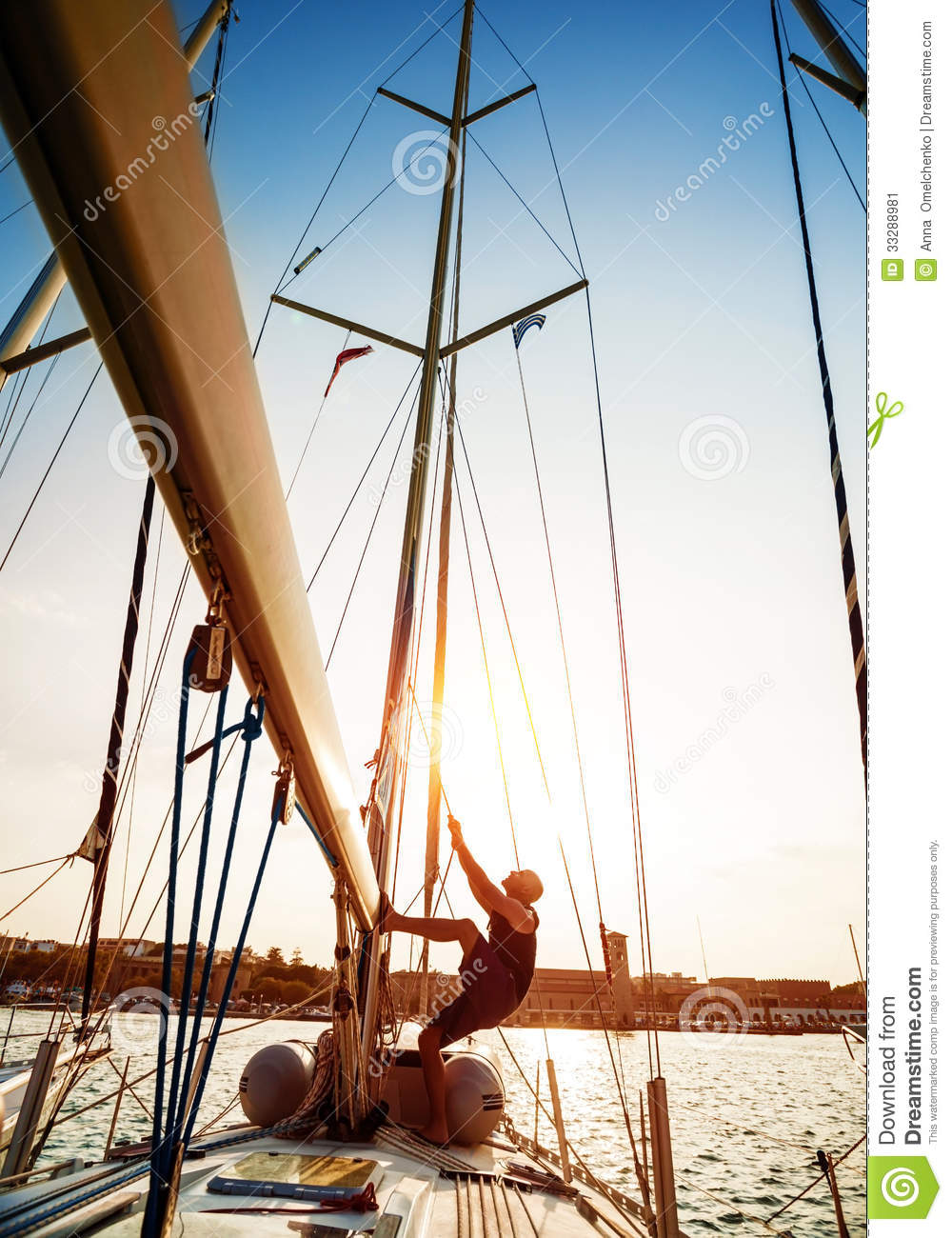 Young Sailor On Sailboat Stock Image Image 33288981