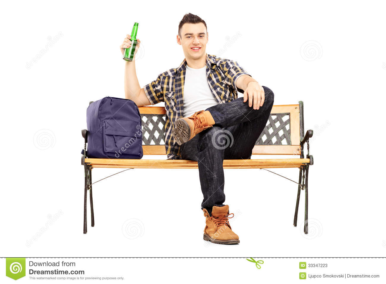 young satisfied student sitting on a bench and drinking beer stock photos image 33347223. Black Bedroom Furniture Sets. Home Design Ideas