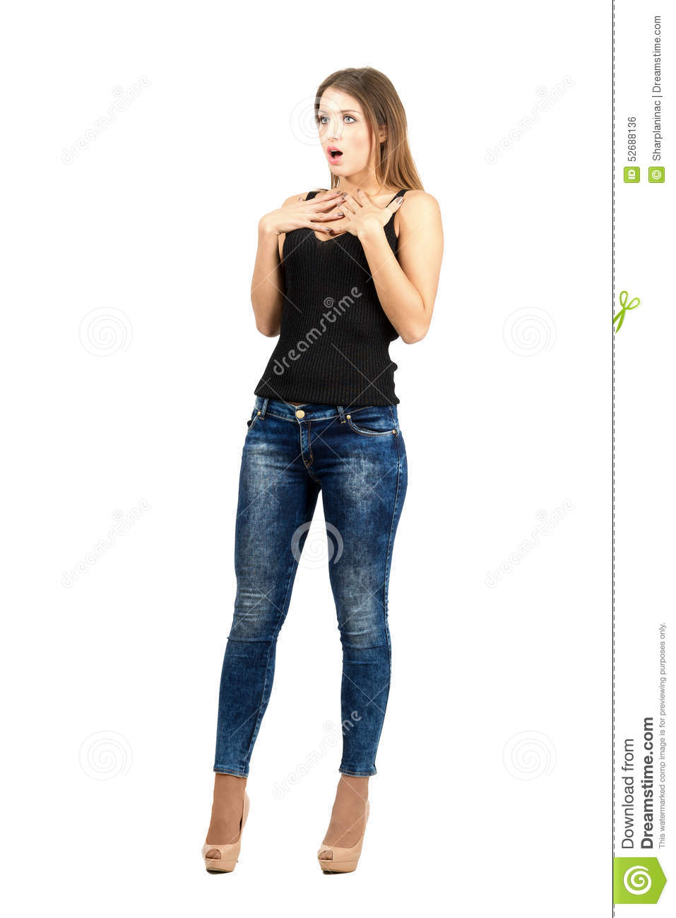 Young Scared Shocked Woman Looking Away Stock Photo ...