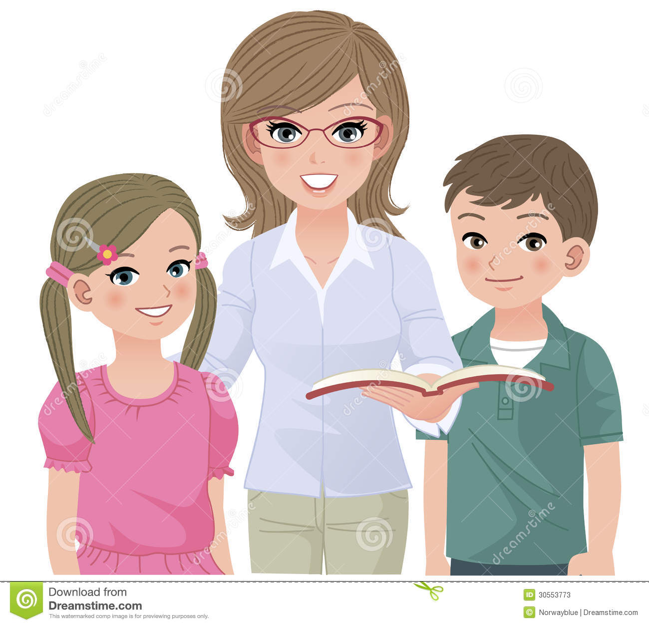 Young School Teacher And Happy Pupils Stock Photos - Image ...