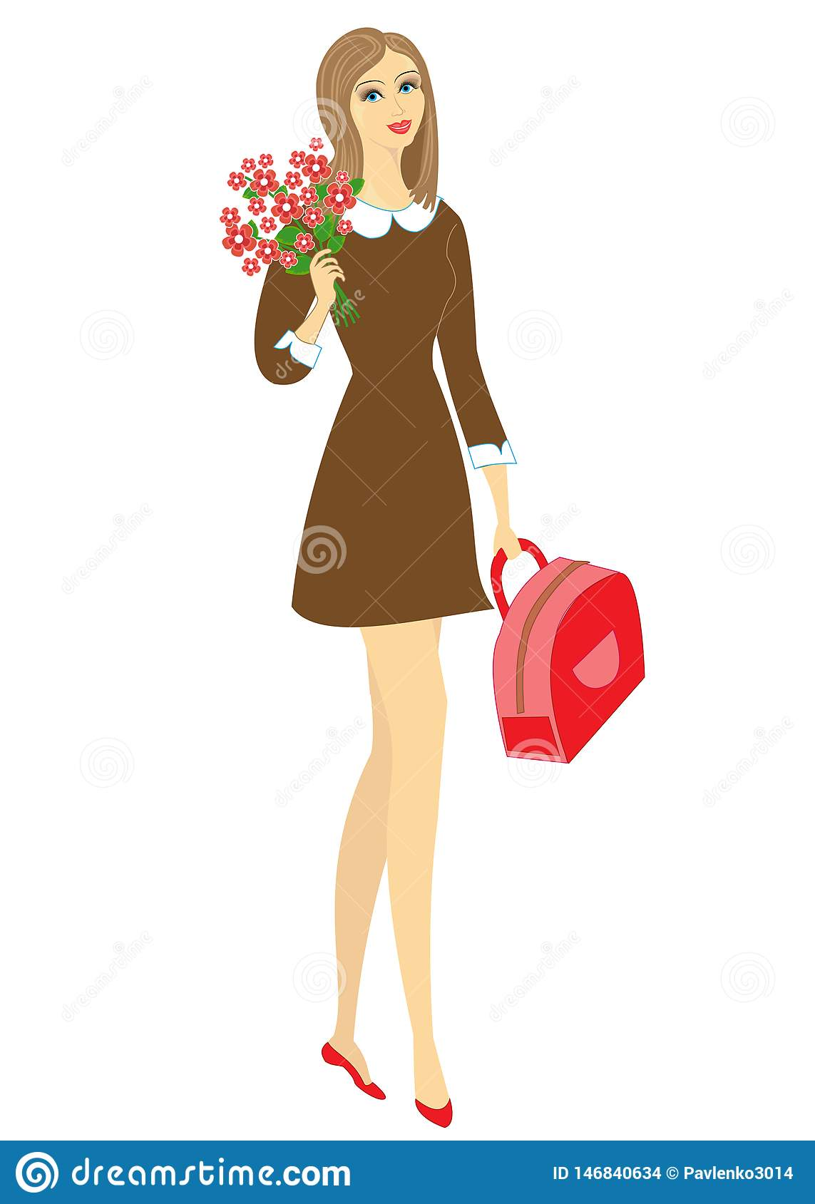 Young schoolgirl with flowers. The girl is very nice, she has a good mood, a smile. The lady will give the bouquet to the teacher