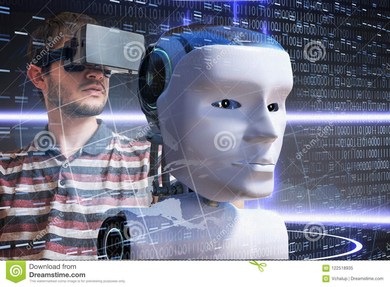 Young scientist is controlling robotic head. Artificial intelligence concept. 3D rendered illustration of a robot