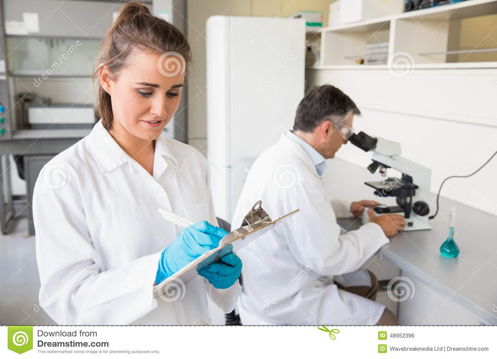 Scientist writing