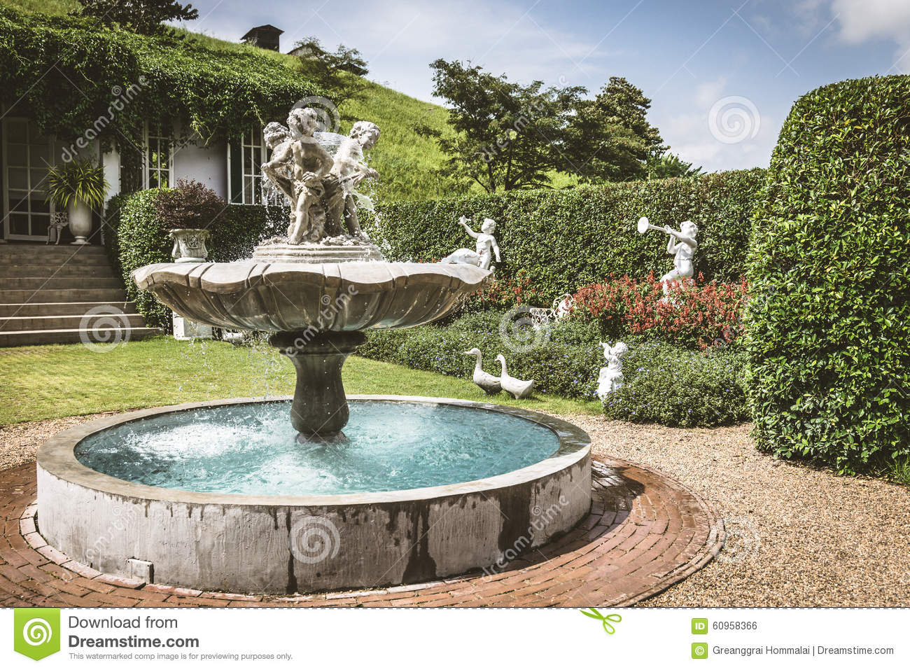 Young Sculpture And Fountain In The English Style Garden Stock Photo    Image Of Outdoor, Blossom: 60958366