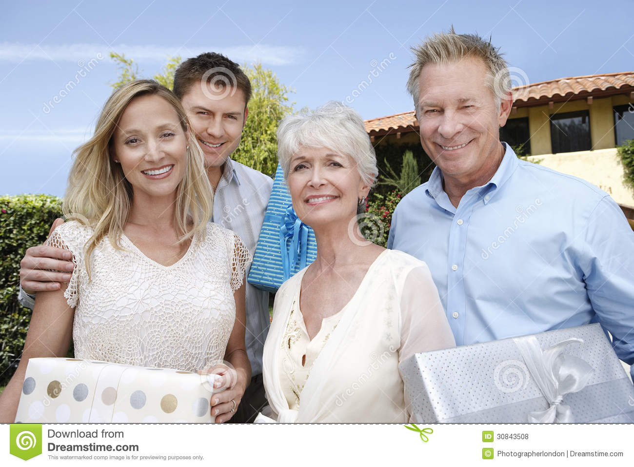 Old couple outdoor with younger woman