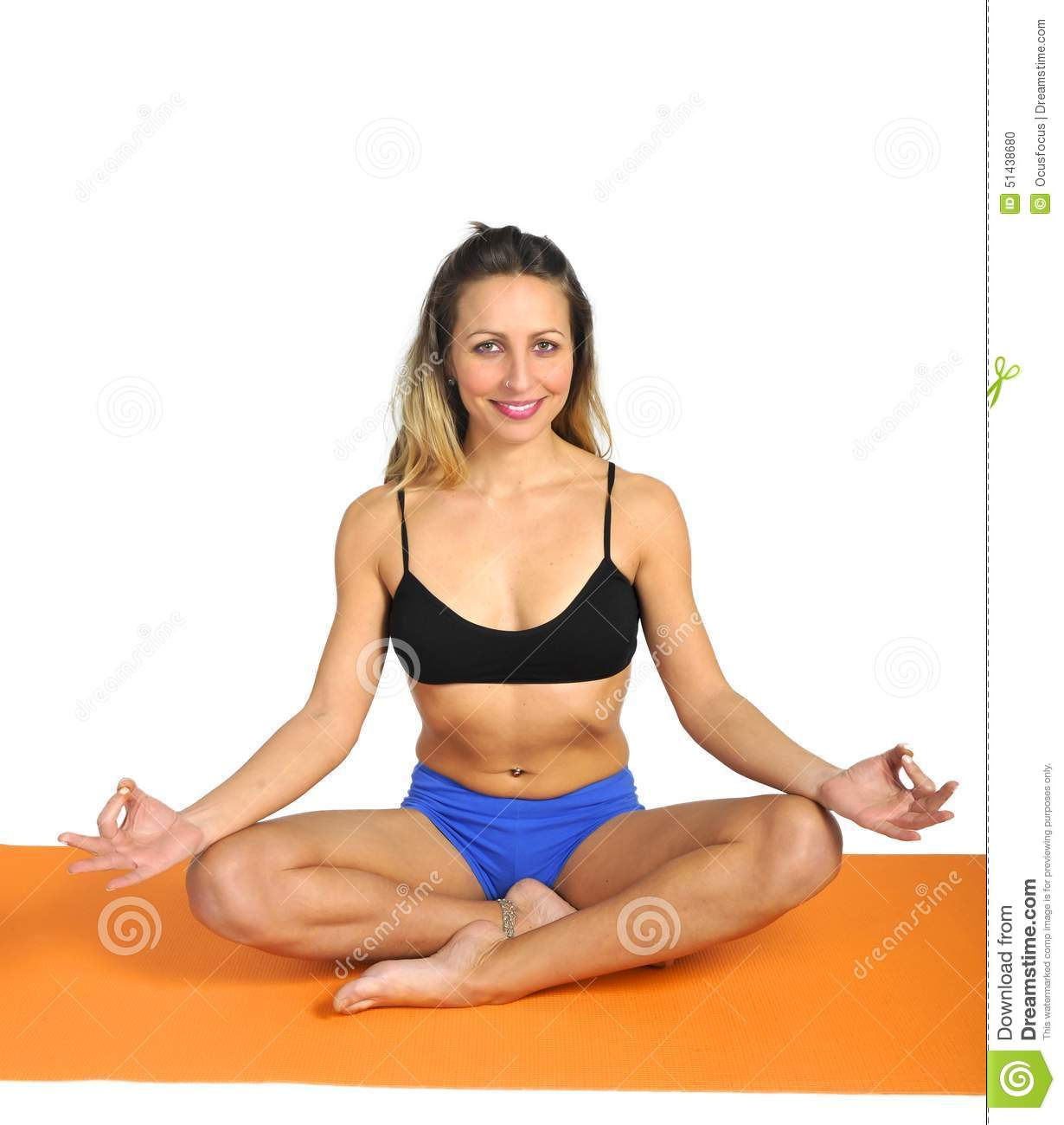Young Attractive Fit Woman At Gym Doing Yoga Exercise And