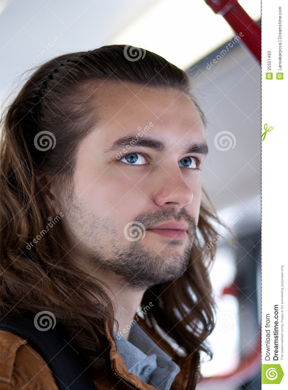 Young Attractive Guy With Long Hair Stock Image - Image of ...