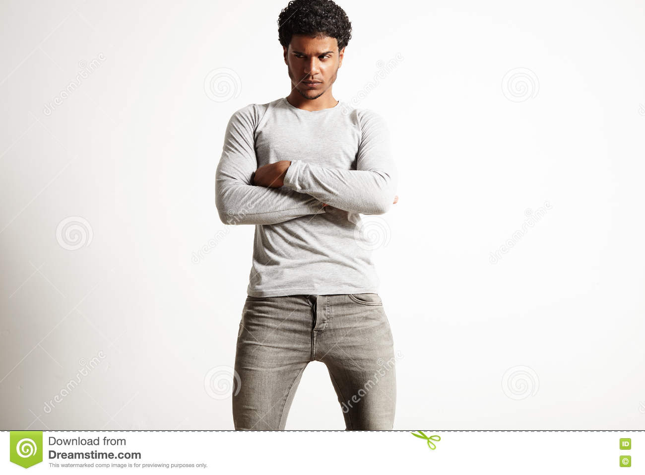 Young Black Model Wearing Light Gray Longsleeve T Shirt