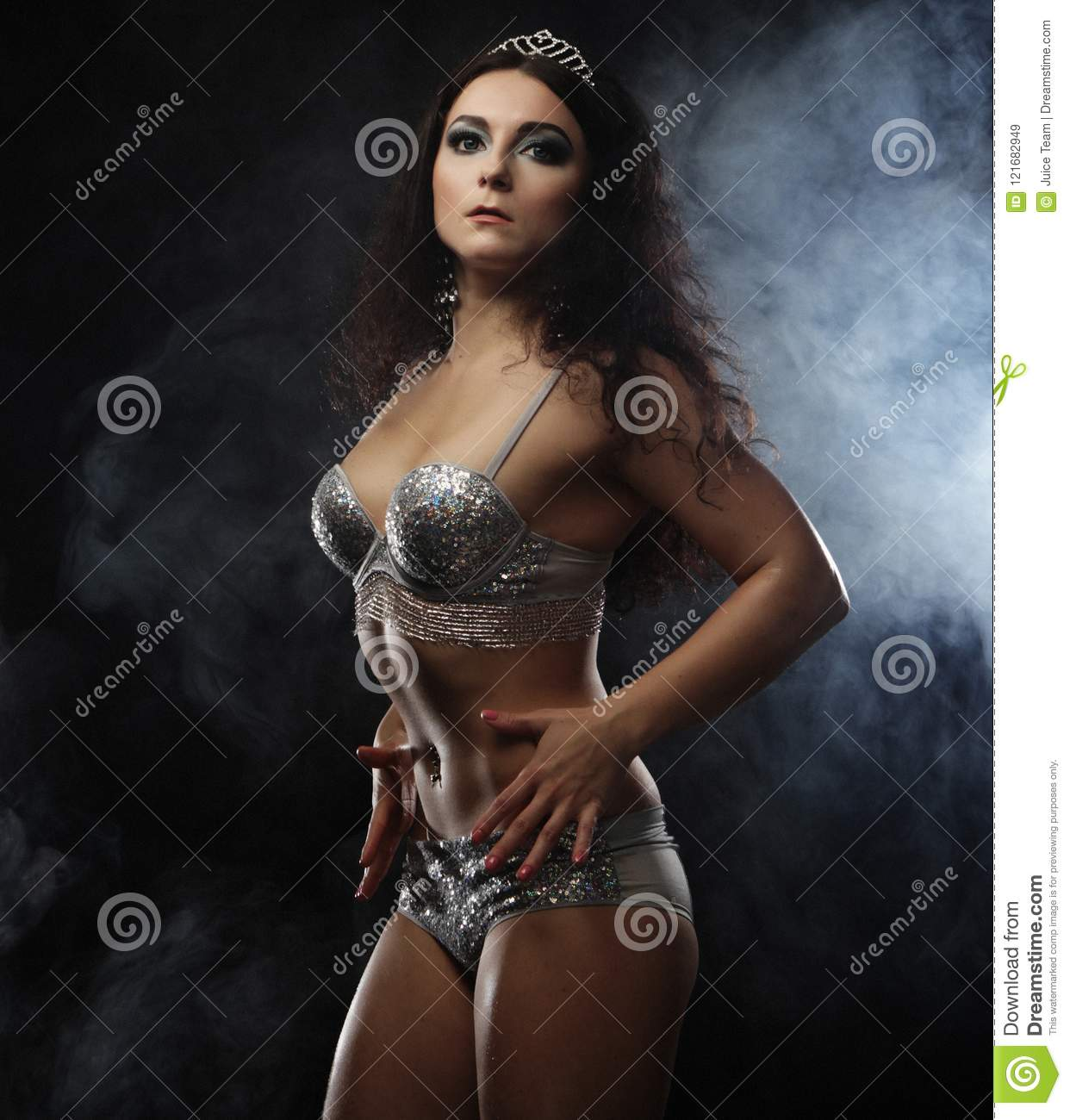 f5d258fd7ca Young Brunette Woman In Lingerie Over Dark Background Stock Image ...