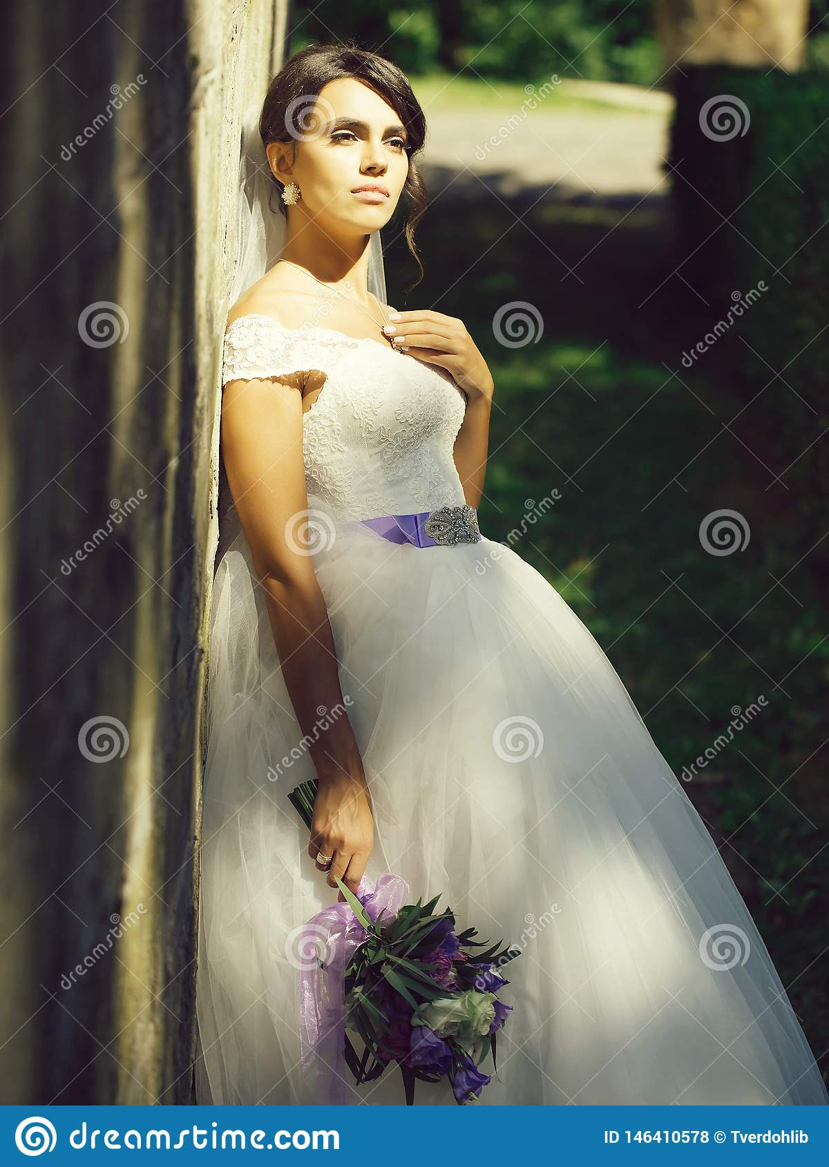 Pretty Bride With Flower Bouquet Stock Photo Image Of Bride