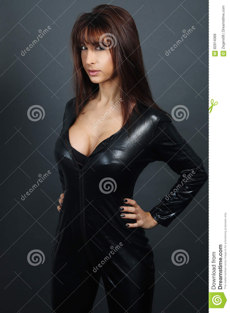 Busty Girl In Leather
