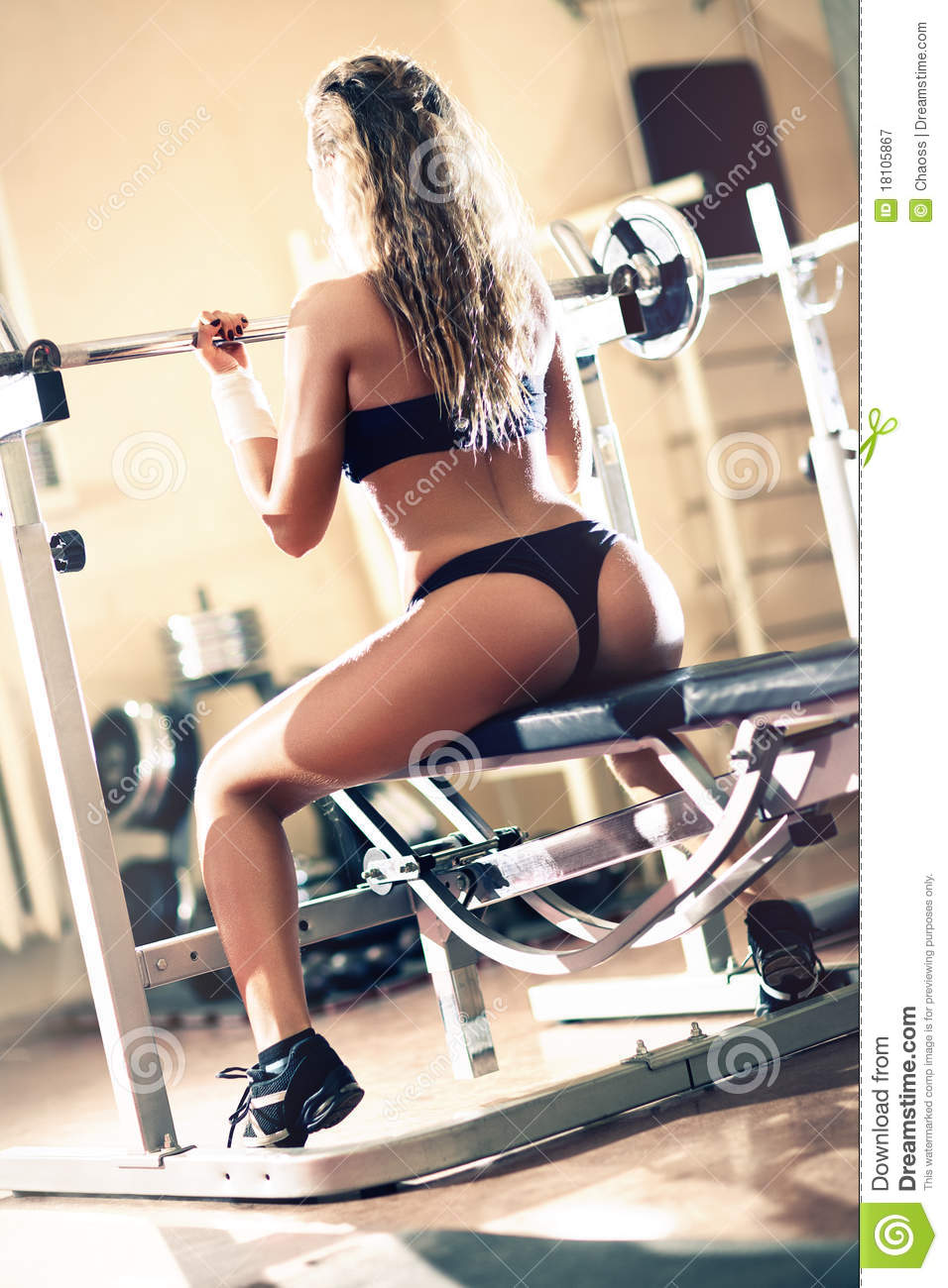 Young Sexy Woman Weight Training Royalty Free Stock