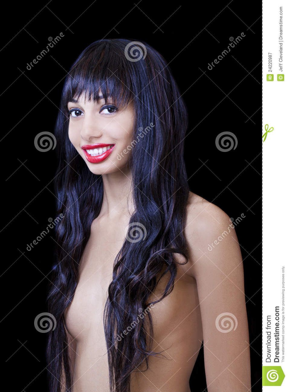 American Beauty Topless young skinny african american woman topless stock image