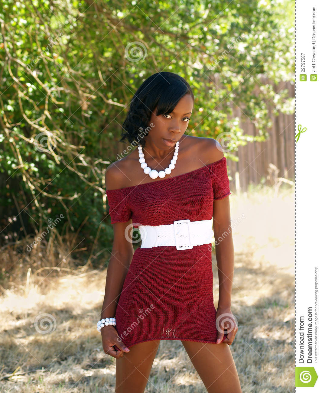 6aeb3fbd3f007 Young Skinny Black Woman Red Knit Dress Stock Image - Image of ...