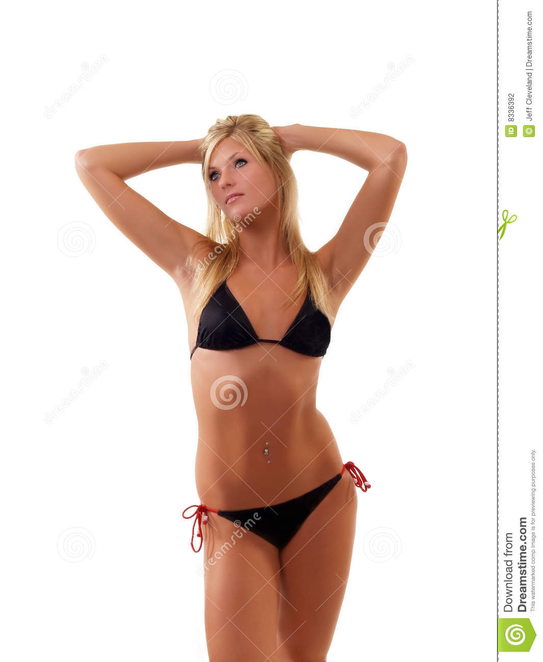 Young Skinny Blond Woman In Black Bikini Standing Stock Photo Image Of Young Lady 8336392