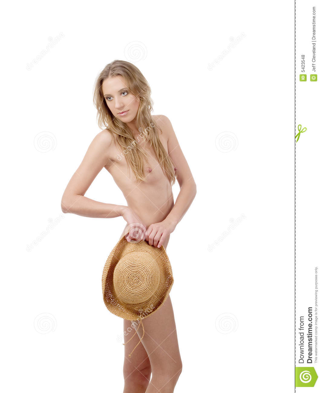 Young Woman Topless With Straw Hat Covering Lower