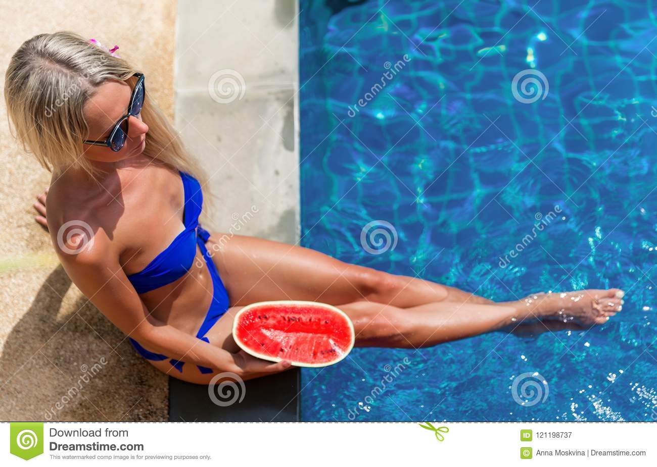 Young Slim Blonde Woman With Long Hair In Sunglasses With Watermelon Sunbathing Near Swimming Pool Stock Image Image Of Summer Sunbathe 121198737