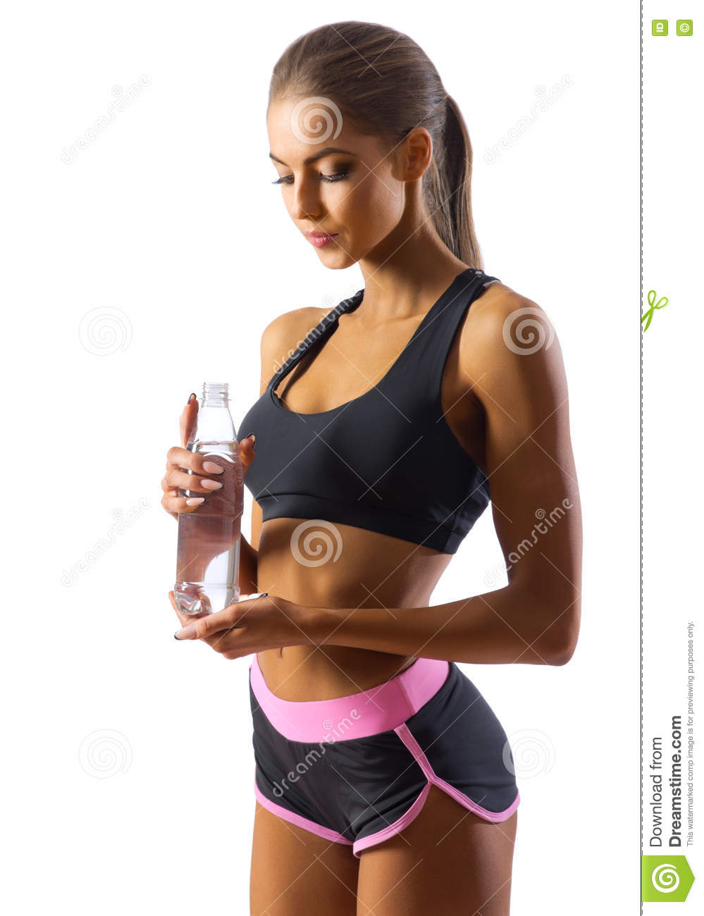 Young Fitness Woman Demonstrate Crossover Exercises. The ...