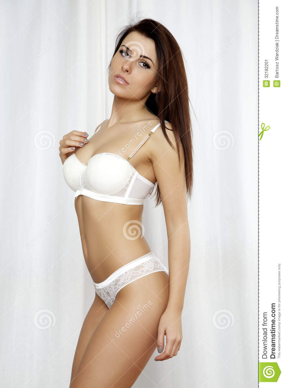 Young Slim Sexy Woman In Lingerie Stock Image